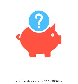 Piggy bank icon, business icon with question mark. Piggy bank icon and help, how to, info, query symbol. Vector illustration