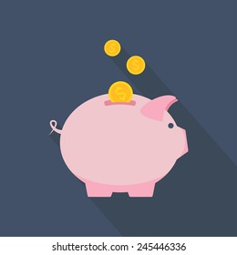 Piggy bank icon. Piggy bank with coins. Flat design. Vector illustration