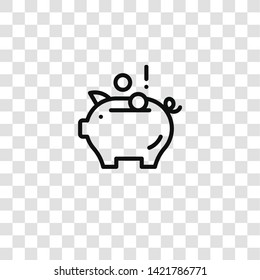piggy bank icon from  collection for mobile concept and web apps icon. Transparent outline, thin line piggy bank icon for website design and mobile, app development