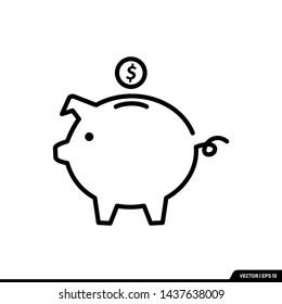 Piggy bank icon line style vector illustration