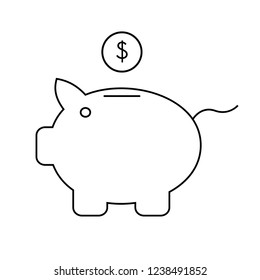 Piggy bank icon outline style isolated on white background. Piggy bank with coin