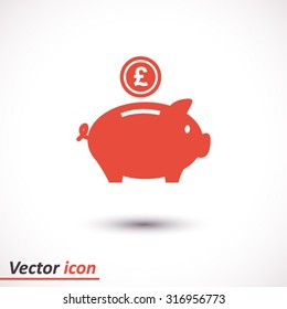 Piggy bank icon. Pictograph of moneybox