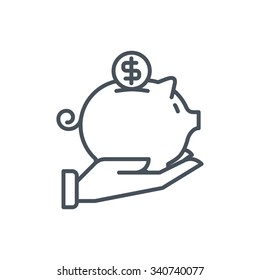 Piggy bank icon suitable for info graphics, websites and print media and  interfaces. Line vector icon.