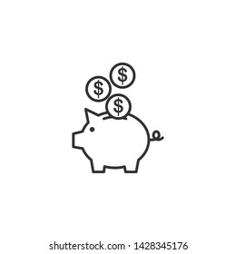 Piggy bank icon template black color editable. Piggy bank symbol Flat vector sign isolated on white background. Simple vector illustration for graphic and web design.