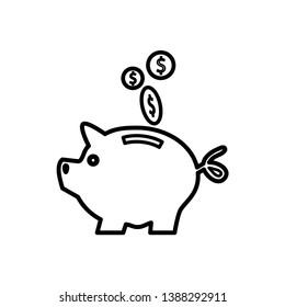 piggy bank icon vector flat style