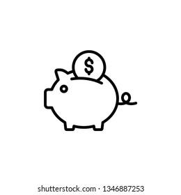Piggy Bank Icon Vector Illustration Logo Template