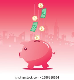 Piggy bank icon vector illustration.