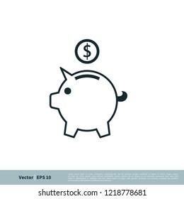piggy bank icon vector logo template
