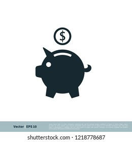piggy bank icon vector logo template