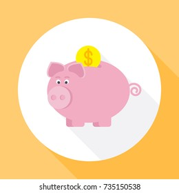 Piggy bank. Icon vector with long shadow. Flat design style.