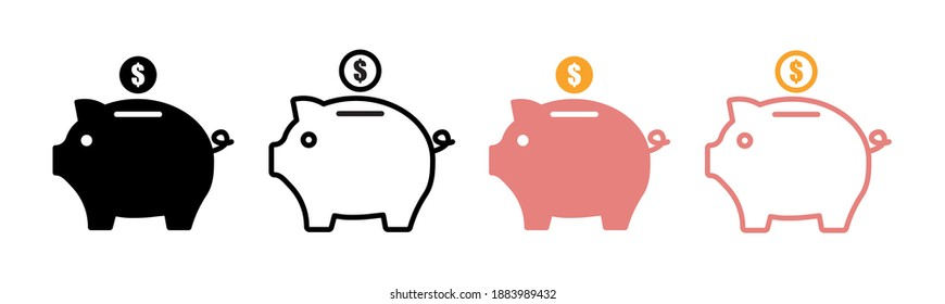 Piggy bank icon vector set . Piggy bank with coin in flat style. Pig, dollar. Vector illustration.