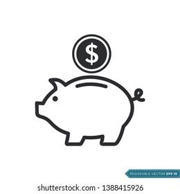 Piggy bank Icon Vector Template Flat Design