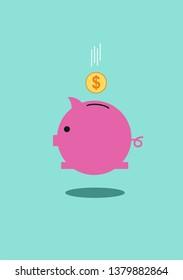 Piggy bank icon for website. Vector stock