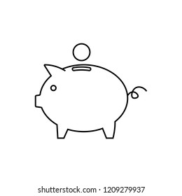 Piggy bank line icon, outline vector sign, linear style pictogram isolated on white. Symbol, logo illustration. Pixel perfect vector graphics