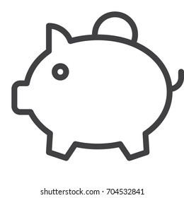 Piggy bank line icon, outline vector sign, linear style pictogram isolated on white. Symbol, logo illustration. Editable stroke. Pixel perfect vector graphics