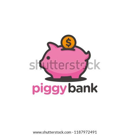 piggy bank logo template stock vector royalty free 1187972491