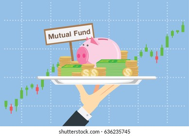 Piggy bank and many money in silver tray on stock chart background. This illustration about saving in mutual funds in catering concept.