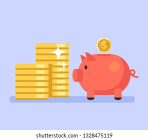 Piggy bank with money. Banking savings economy business loan concept. Vector flat graphic design isolated illustration