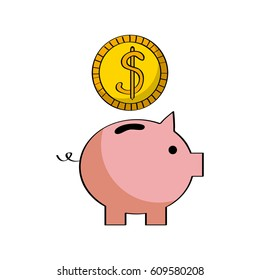 piggy bank with money coin  icon over white background. colorful design. vector illustration