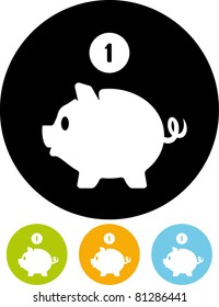 Piggy bank money – Vector icon