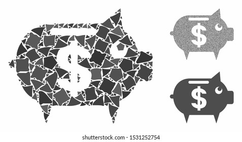 Piggy bank mosaic of trembly elements in different sizes and color hues, based on piggy bank icon. Vector rugged elements are united into mosaic. Piggy bank icons collage with dotted pattern.