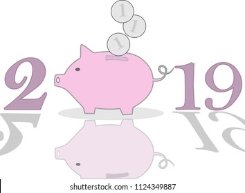 Piggy bank on background for 2019 New Year