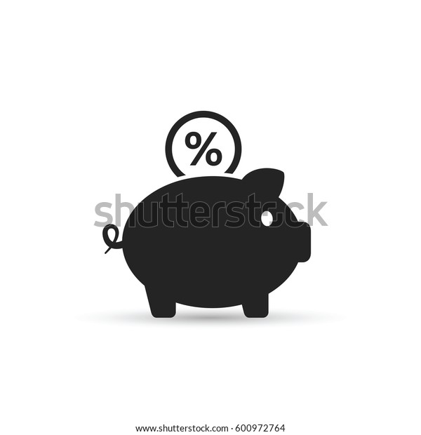Piggy Bank with percent coin vector icon. Inome deposit illustration.