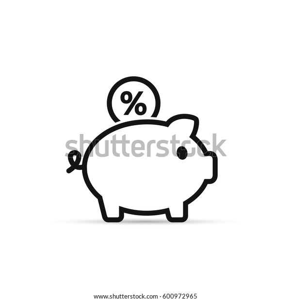 Piggy Bank with percent coin vector icon in outline style. Line illustration.