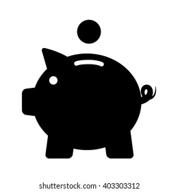 Piggy bank / piggybank with coin flat vector icon for apps and websites
