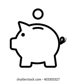 Piggy bank / piggybank with coin line art vector icon for apps and websites