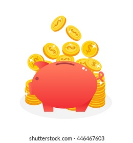 piggy bank with piles of coins. saving money vector illustration