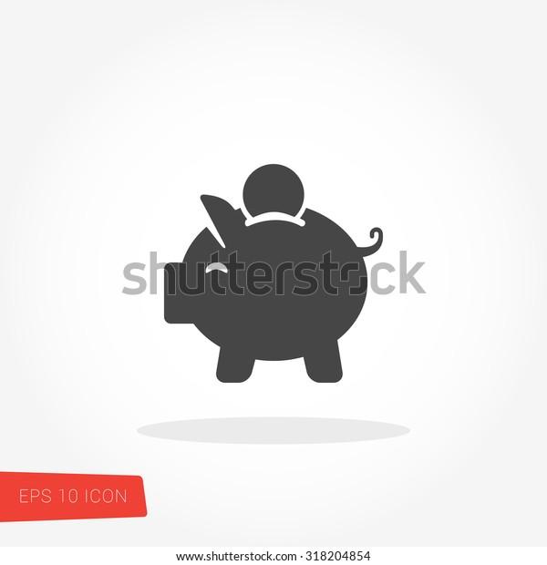 Piggy Bank, sparendes isoliertes Web Mobile Symbol / Vektorgrafik / Zeichen / Symbol / Button / Element / Silhouette
