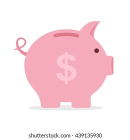 Piggy bank saving money in flat style. Investment planning concept money box. Finance piggy bank icon for cash and coins vector. Pig isolated on white background.