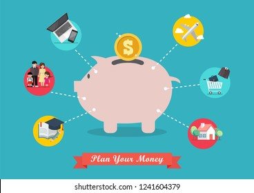 Piggy bank saving money portion for life. Vector illustration
