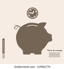 Piggy bank - saving money. Vector.