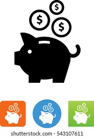 Piggy Bank Savings With 3 Coins Icon