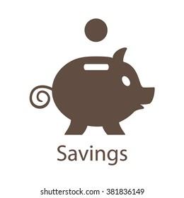 Piggy Bank Savings Icon. Piggy Bank Savings Icon Vector. Piggy Bank Savings Icon EPS.