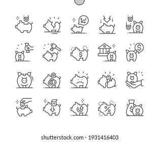Piggy bank. Savings for period. Accumulation. Coin, save, finance, economy, saving, investment and financial. Pixel Perfect Vector Thin Line Icons. Simple Minimal Pictogram