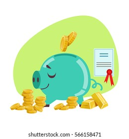 Piggy Bank Savings Protected By Insurance Contract , Insurance Company Services Infographic Illustration