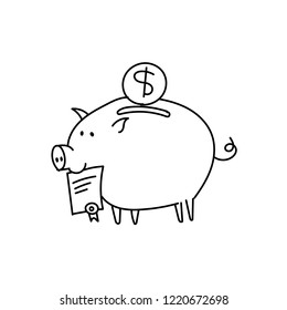 Piggy bank scetch. Bribe Pig with a document in the mouth