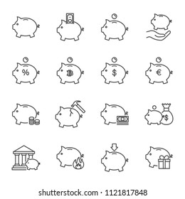 Piggy bank set of vector icons outline style