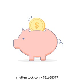 Piggy bank simple vector illustration in flat layout style, savings, bank, money deposit, savings, safe money icon concept.