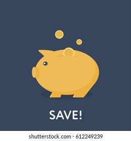 Piggy bank symbol. Saving money box