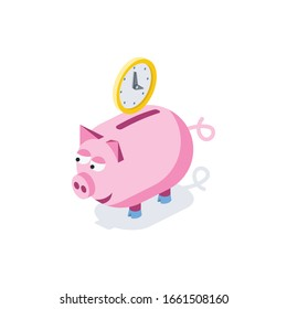 Piggy bank time clock. Vector 3d isometric, color web icon, new flat style. Creative illustration design, graphic idea for infographics.