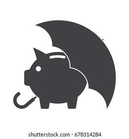 Piggy bank with umbrella concept for safe investment, finance for protection