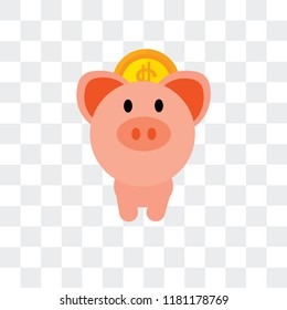 Piggy bank vector icon isolated on transparent background, Piggy bank logo concept