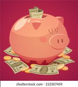 Piggy bank. Vector illustration.