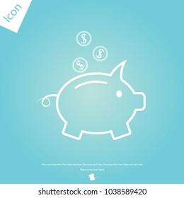 Piggy bank witch coin line icon