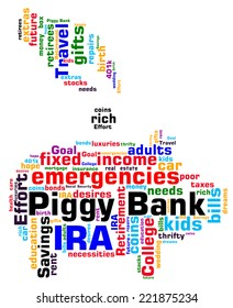 Piggy Bank word cloud infographic. Shape shows a hand depositing a coin into the iconic piggy bank. Concepts of saving for a rainy day or goals. VECTOR.