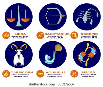 Piggy Bank of Zodiac icon set. Libra, Scorpio, Sagittarius, Capricorn, Aquarius, Pisces